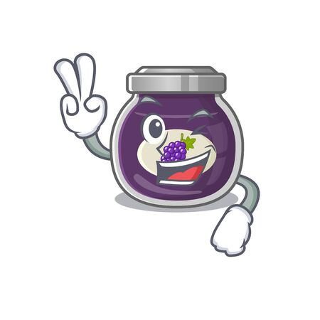 Smiley mascot of grape jam cartoon Character with two fingers