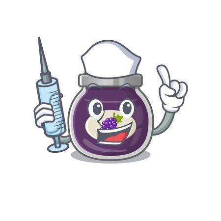 Smiley Nurse grape jam cartoon character with a syringe Ilustrace