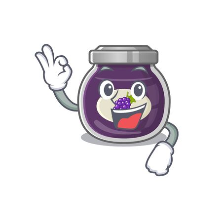 A picture of grape jam making an Okay gesture