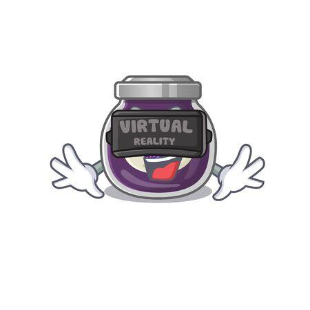 Trendy grape jam character wearing Virtual reality headset