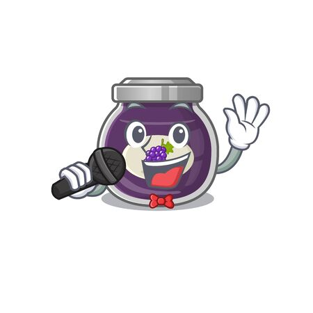 Happy grape jam singing on a microphone