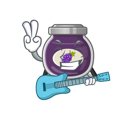 A mascot of grape jam performance with guitar