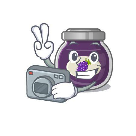 Cool Photographer grape jam character with a camera Ilustração