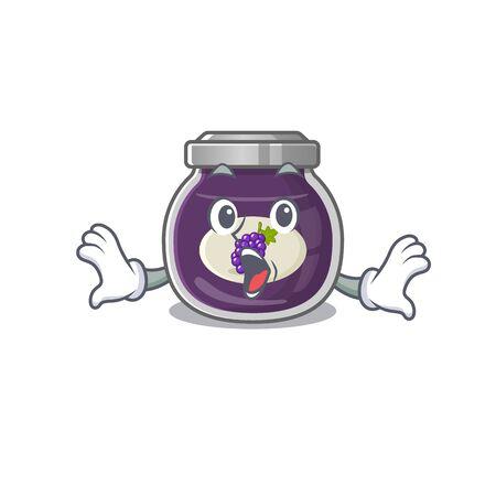 Grape jam cartoon character design on a surprised gesture Vecteurs
