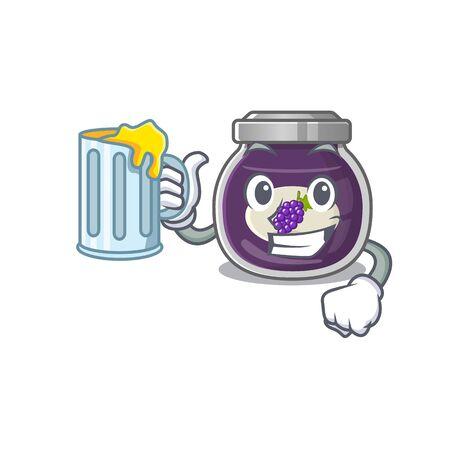 Happy grape jam mascot design with a big glass