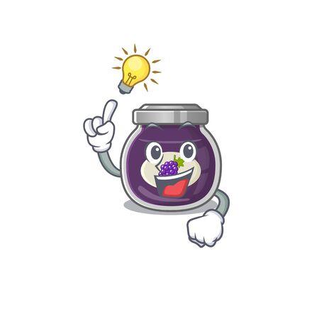 Have an idea gesture of grape jam cartoon character design