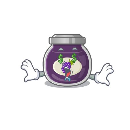 Happy rich grape jam with Money eye cartoon character style