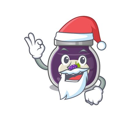A picture of Santa grape jam mascot picture style with ok finger Vettoriali