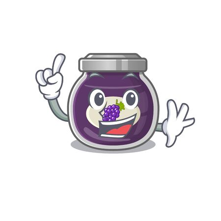 One Finger grape jam in mascot cartoon character style