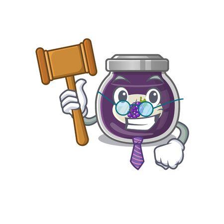Smart Judge grape jam in mascot cartoon character style
