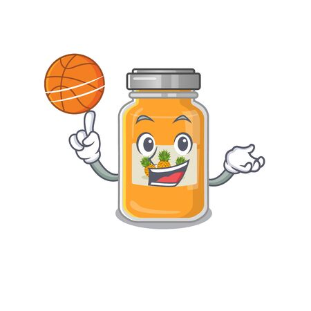 A mascot picture of pineapple jam cartoon character playing basketball Vettoriali