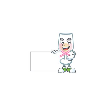 Cheerful pink glass of wine cartoon character having a board. Vector illustration Ilustração