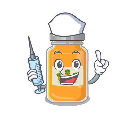 Smiley Nurse pineapple jam cartoon character with a syringe