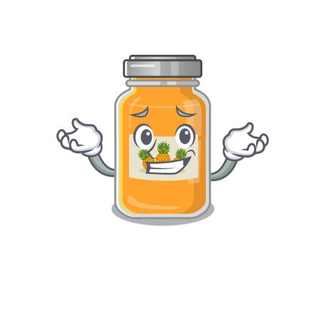 Super Funny Grinning pineapple jam mascot cartoon style