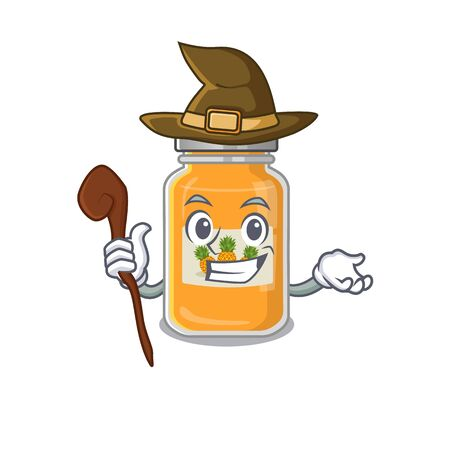 cartoon mascot style of pineapple jam dressed as a witch