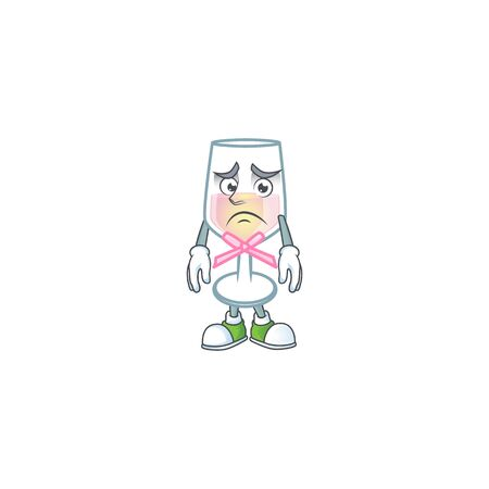 A picture of pink glass of wine showing afraid look face. Vector illustration