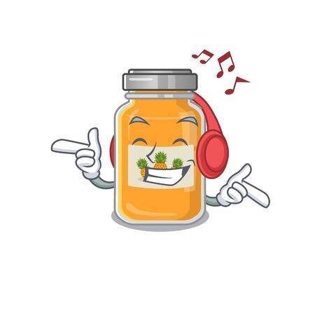 Listening music pineapple jam mascot cartoon character design