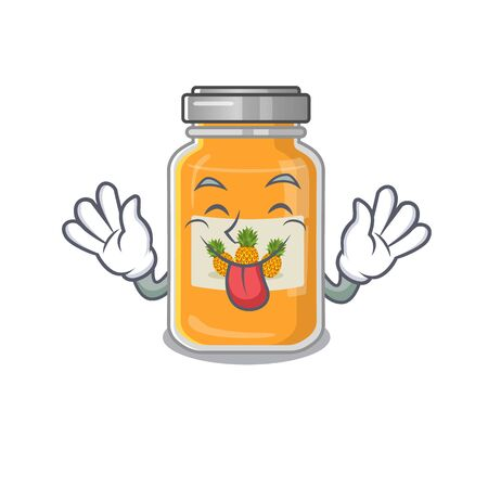Cute pineapple jam cartoon mascot style with Tongue out