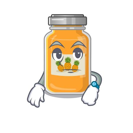 cartoon character design of pineapple jam on a waiting gesture