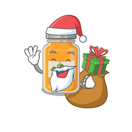 Santa pineapple jam Cartoon character design having box of gift
