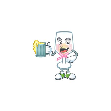 Happy pink glass of wine mascot design with a big glass. Vector illustration