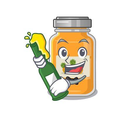 mascot cartoon design of pineapple jam with bottle of beer