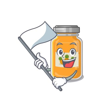 Funny pineapple jam cartoon character style holding a standing flag