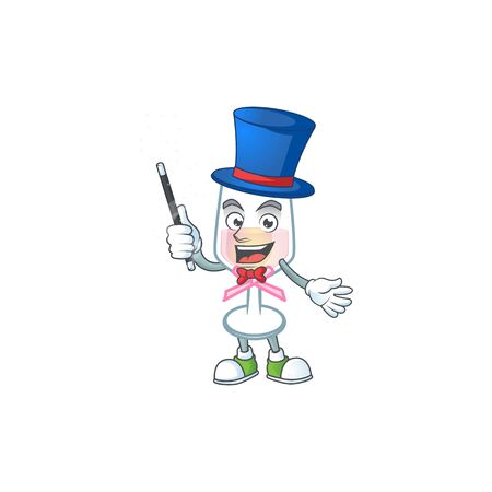 A picture of pink glass of wine performance as a Magician. Vector illustration