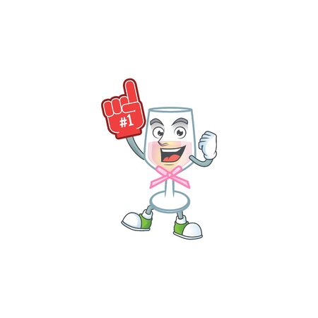 Pink glass of wine mascot cartoon style holding a Foam finger. Vector illustration Ilustração