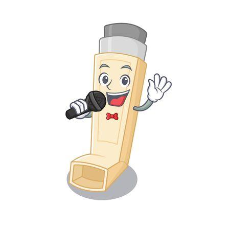 Happy asthma inhaler singing on a microphone. Vector illustration Illustration