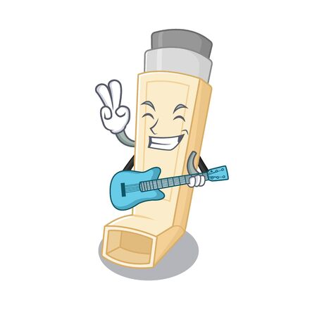 A mascot of asthma inhaler performance with guitar