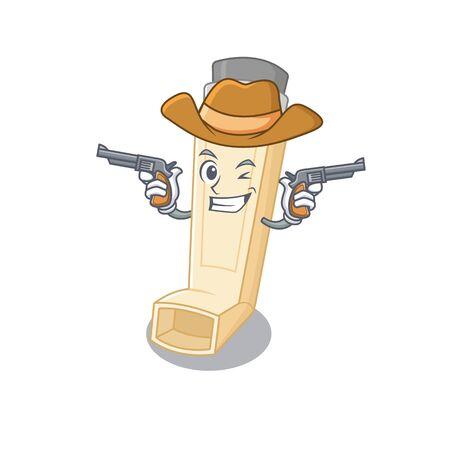 Asthma inhaler dressed as a Cowboy having guns. Vector illustration