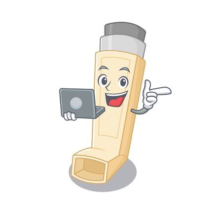Smart character of asthma inhaler working with laptop. Vector illustration