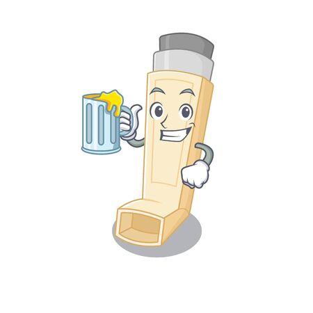 Happy asthma inhaler mascot design with a big glass. Vector illustration Illustration