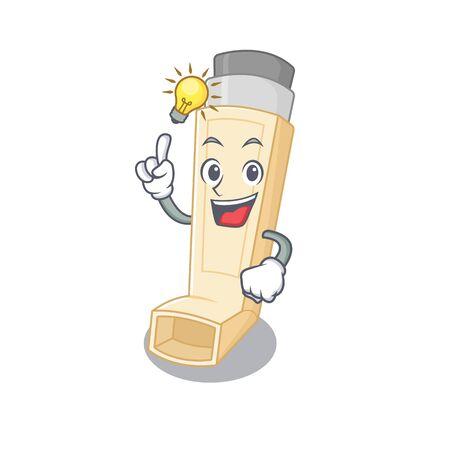 Have an idea gesture of asthma inhaler cartoon character design
