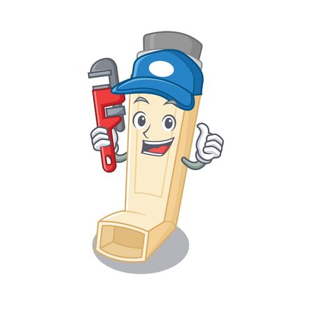 Cool Plumber asthma inhaler on mascot picture style