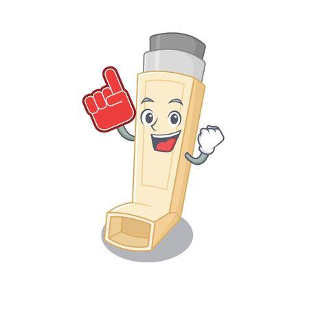 Asthma inhaler mascot cartoon style holding a Foam finger