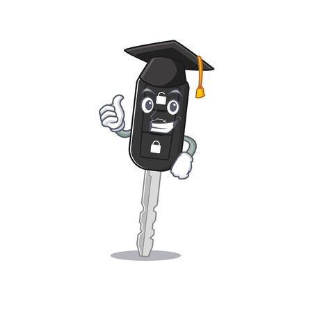happy and proud of car key wearing a black Graduation hat. Vector illustration