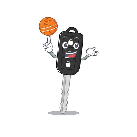 A mascot picture of car key cartoon character playing basketball. Vector illustration Illustration