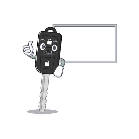 Thumbs up of car key cartoon design with board. Vector illustration Çizim