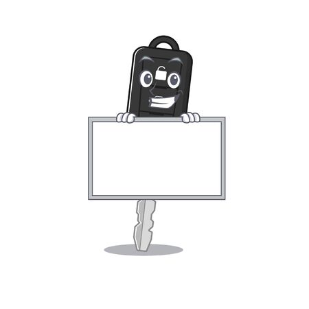 A cute picture of car key grinning with board. Vector illustration Çizim