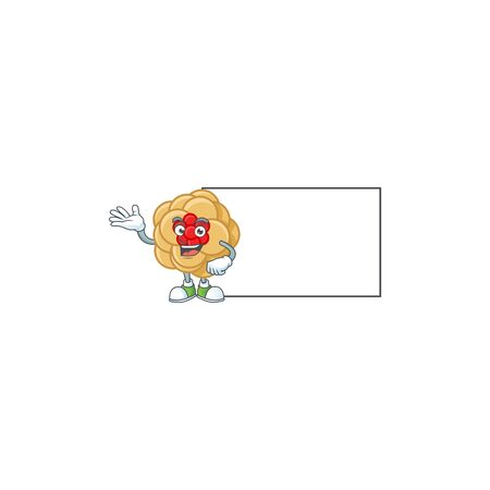 Smiley chinese gold flower with whiteboard cartoon character design. Vector illustration