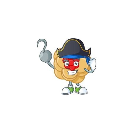 Cool one hand Pirate chinese gold flower cartoon character wearing hat. Vector illustration