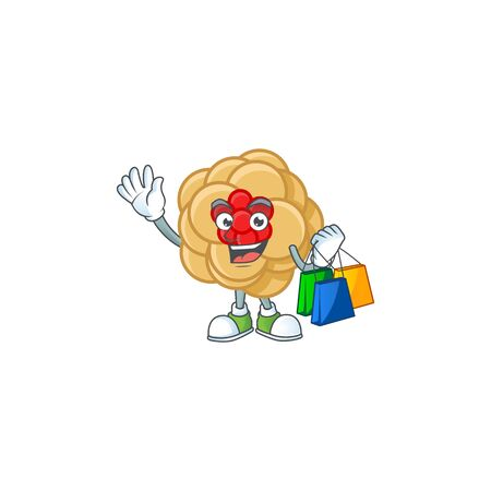 A happy rich chinese gold flower waving and holding Shopping bag. Vector illustration
