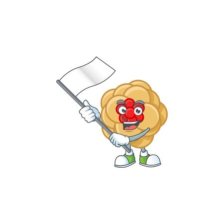 Funny chinese gold flower cartoon character style holding a standing flag. Vector illustration