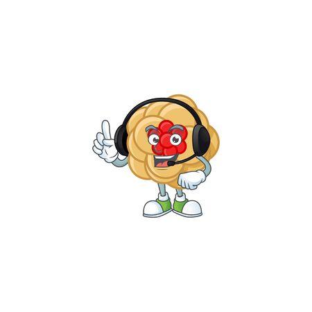 Smiley chinese gold flower cartoon character design wearing headphone. Vector illustration Zdjęcie Seryjne - 138022970