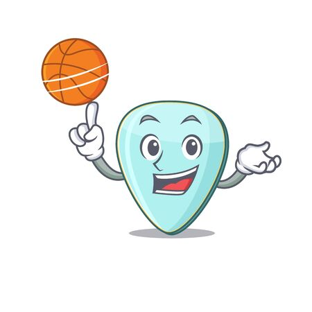 A mascot picture of guitar plectrum cartoon character playing basketball Фото со стока - 138013197