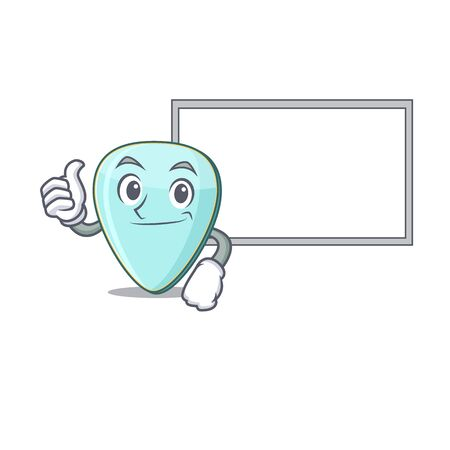 Thumbs up of guitar plectrum cartoon design with board Фото со стока - 138023563