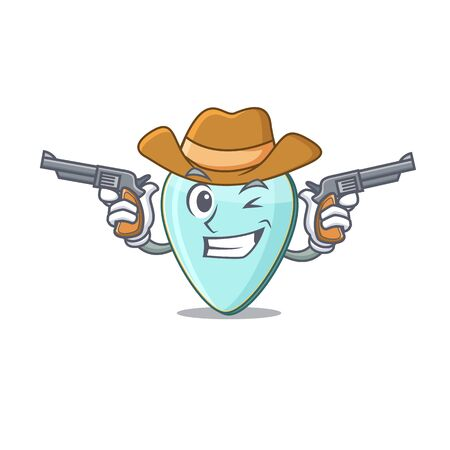 Guitar plectrum dressed as a Cowboy having guns Иллюстрация