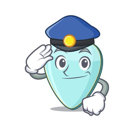 Guitar plectrum Cartoon mascot performed as a Police officer